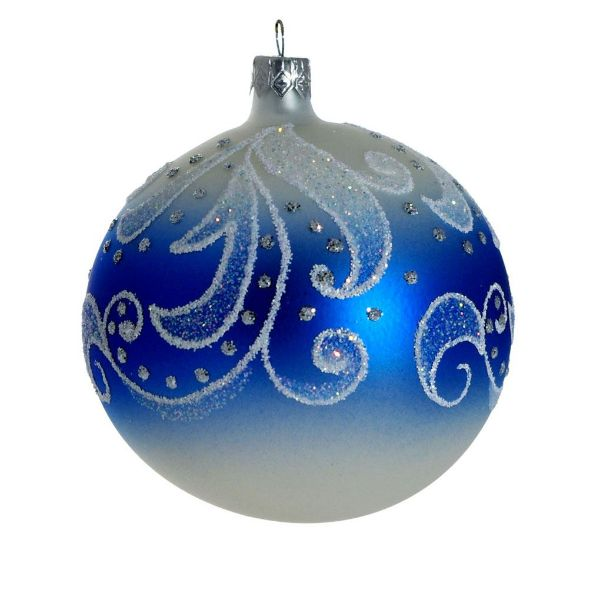 """Picture of """"Frosty Pattern"""" Hand Blown Glass Christmas Ornament"""