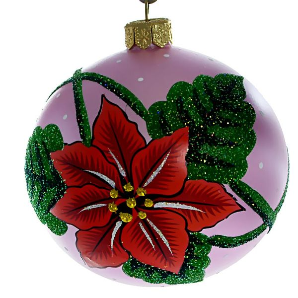 """Picture of """"Christmas Star"""" Hand Blown Christmas Ball Ornament (Pink)"""