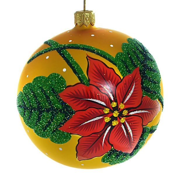 """Picture of """"Christmas Star"""" Hand Blown Christmas Ball Ornament (Yellow)"""