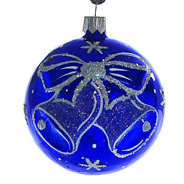 Picture of Jingle Bells Hand Blown Glass Blue Christmas Ball Ornament