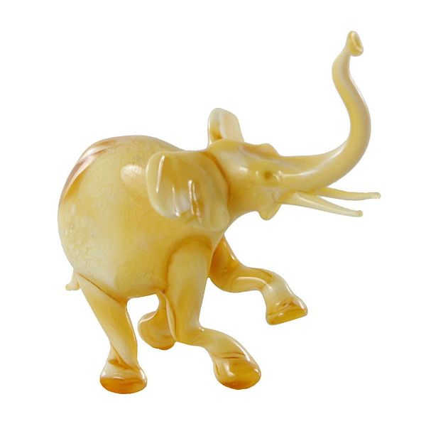 Picture of Elephant Hand Blown Glass Lampwork Collectible Miniature Figurine (Caramel).