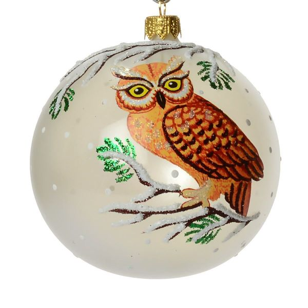 """Picture of """"Owl"""" Glass Christmas Ball Ornament"""