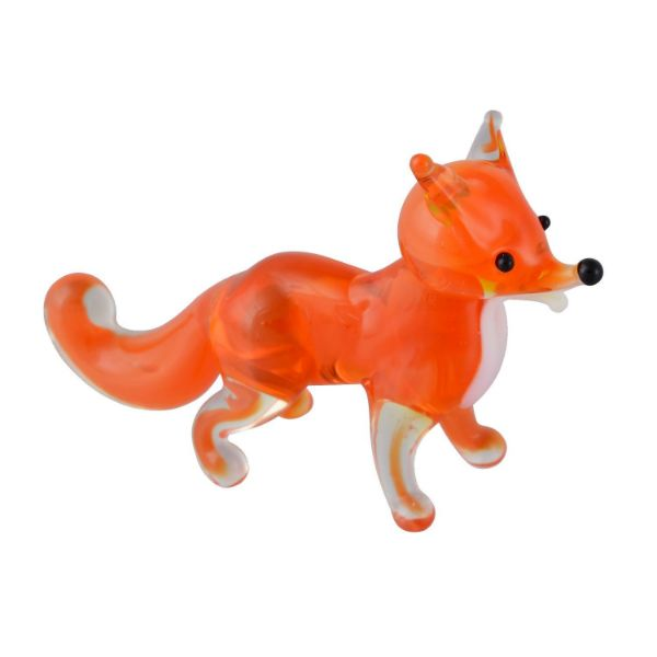 Picture of Hand Blown Glass Lampwork Collectible Miniature Fox Figurine