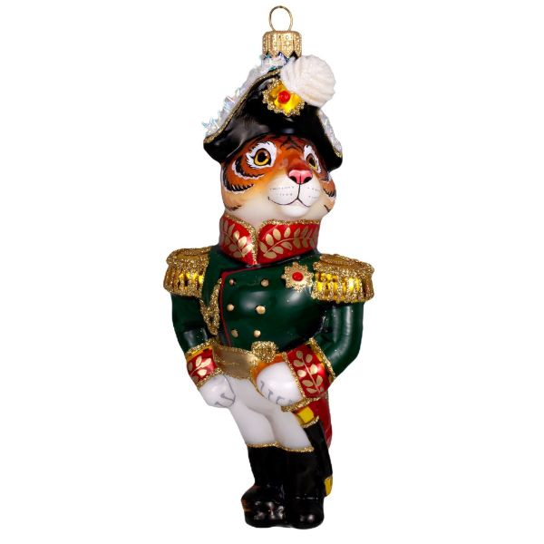 Picture of Tiger the General in Chief Hand Made Blown Glass Christmas Tree Ornament