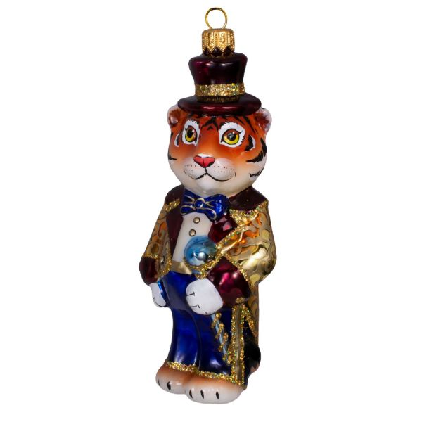 Picture of Tiger The Magician Hand Painted Blown Glass Christmas Tree Collectible Ornament