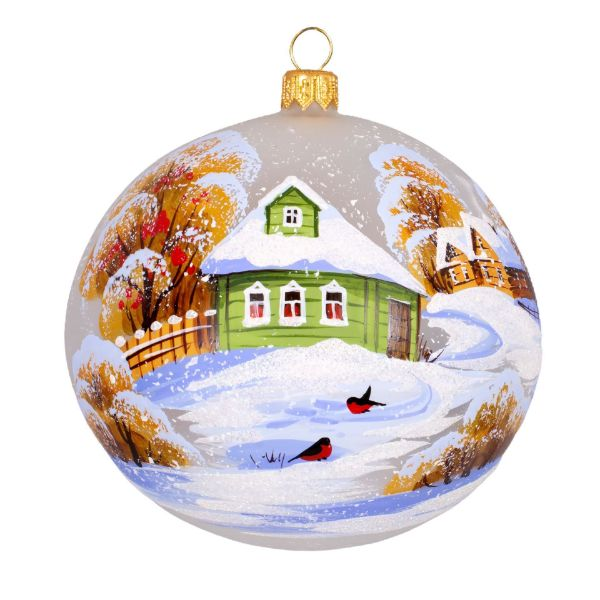 Picture of Hand Made Hand Painted Glass Christmas Ball Ornament First Snow. Bullfinches