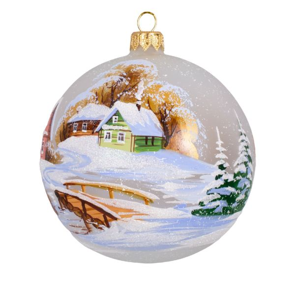 Picture of Hand Made Hand Painted Glass Christmas Ball Ornament First Snow. Bridge