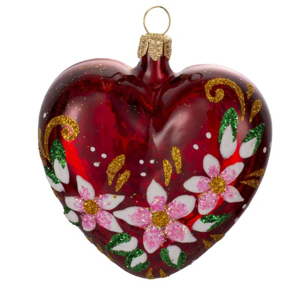 """Picture of Red Heart Hand Painted Mouth Blown Glass  Christmas Tree Ornament """"Fascinating"""""""