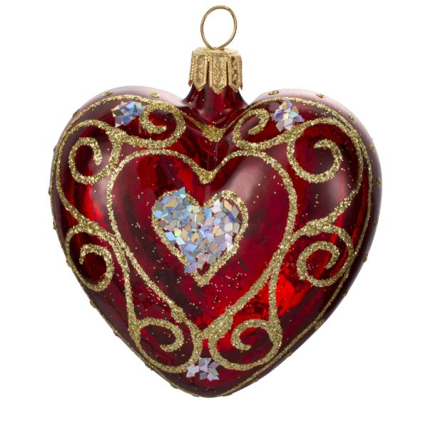 """Picture of Red Heart Hand Painted Mouth Blown Glass  Christmas Tree Ornament """"Lace"""""""