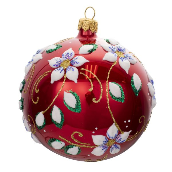 Picture of Floral Red Glossy Blown Glass Christmas Ball Ornament
