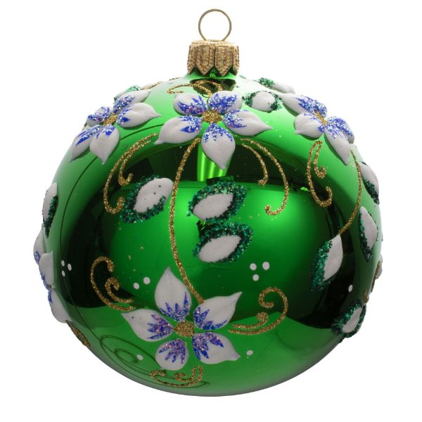 Picture of Floral Green Blown Glass Hand Painted Christmas Ball Ornament