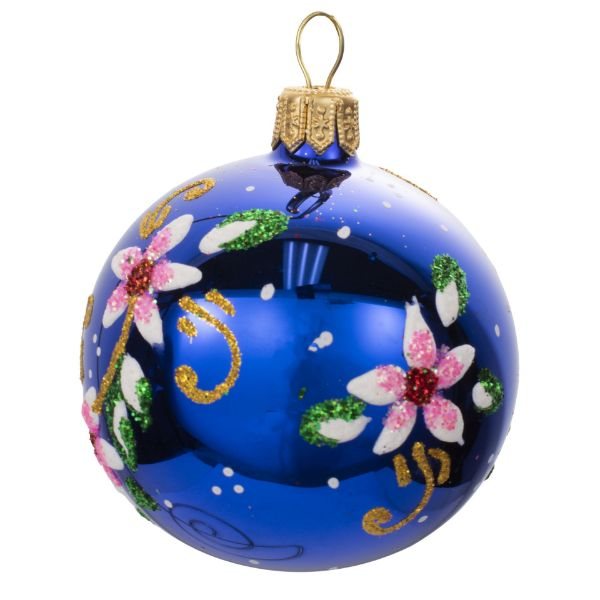 Picture of Floral Blue Blown Glass Hand Painted Christmas  Small Ball Ornament