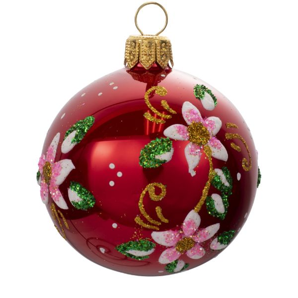 Picture of Floral Red Blown Glass Hand Painted Christmas Small Ball Ornament