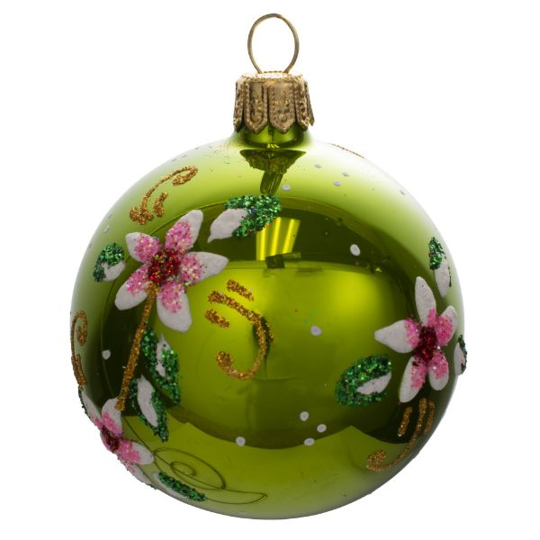 Picture of Floral Green Blown Glass Hand Painted Christmas Small Ball Ornament
