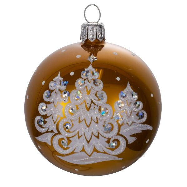 Picture of Merry Christmas Gold Blown Glass Hand Painted Christmas Small Ball Ornament