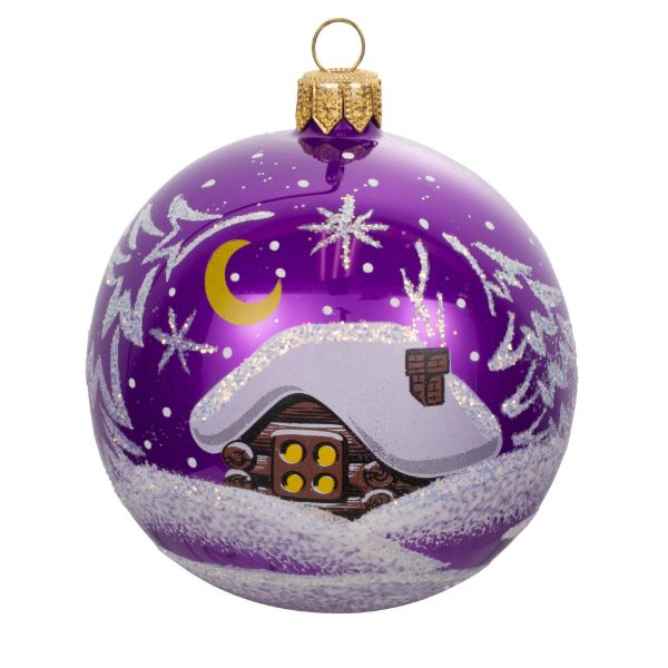 Picture of Little Forest Hut Blown Purple Glass Christmas Ball Ornament
