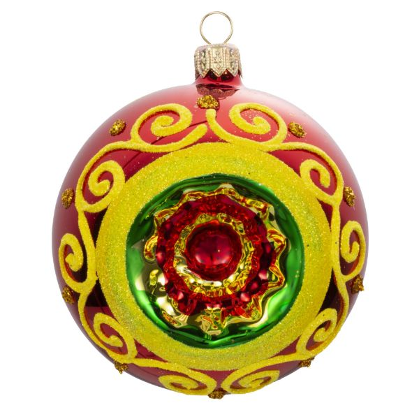 Picture of Hand Painted Indent Reflector Blown Red Glass Christmas Ball