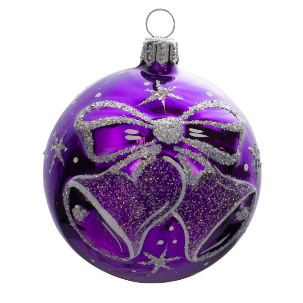 Picture of Jingle Bells Hand Blown Glass Purple Christmas Ball Ornament