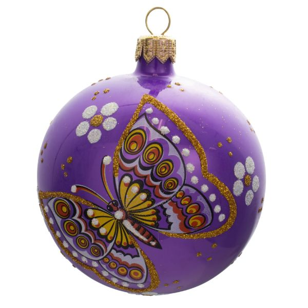 Picture of Meadow Hand Blown Glass Glossy Purple Christmas Ball Ornament